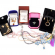 New jewelry in open boxes - Foto Stock