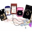 New jewelry in open boxes - Stockfoto