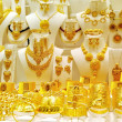 Golded jewel in a shop — Stock Photo