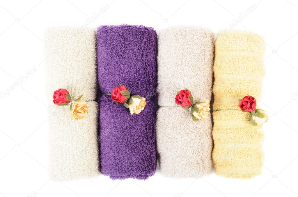 Spa or bathroom concept with towels , on a white background — Stock Photo #9894507