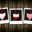 Three heart on the wood background — Stock Photo