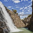 Stock Photo: Waterfall at basaltic prism canyon at Hidalgo, Mexico