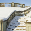 A snow-bound stone stair is in a winter park — Stock Photo
