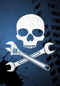 Skull with wrenches — Stock Vector
