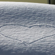 Stock Photo: Love Heart on the snow