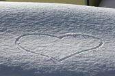 Love Heart on the snow — Stock Photo