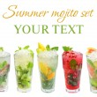 Mojito cocktail - summer drink set isolated on white — Stock Photo #10492062