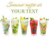 Mojito cocktail - summer drink set isolated on white — Stock Photo