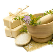 Natural cosmetics - soap, bath salt and medicine herbs — Stock Photo