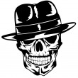 Skull in hat gangster — Stock Vector