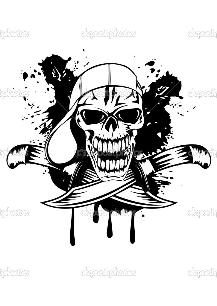 Vector image skull in cap and knifes  Stock Vector #10351589