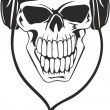 Skull in stereo ear-phones - Imagen vectorial