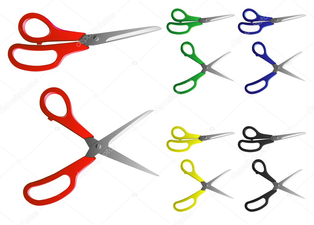 Vector image of scissors with handles of different colours — Stock Vector #8621684