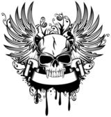 Skull with wings 1 — Vector de stock
