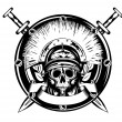 Royalty-Free Stock Vector Image: Skull in helmet and crossed sword