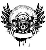 Vector image skull in helmet and crossed sword — Stock Vector