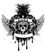 Skull in helmet and crossed sword — Stock Vector