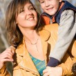 ストック写真: Mother and son outdoor set