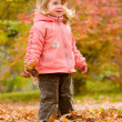 Little blond girl in autumn park — Stock Photo #10166305