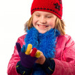 Pretty little girl dressed winter clothes isolated on white back — Stock Photo #10166551