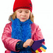 Pretty little girl dressed winter clothes isolated on white back — Stock Photo #10166552