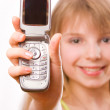 Stock Photo: Pretty teenager girl with mobile phone