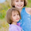 Happy little sisters on green meadow background — Stock Photo
