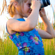 Nice caucasian girl taking picture — Stock Photo