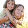 Happy little sisters on green summer meadow — Stock Photo