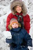 Inverno. paternidade — Foto Stock