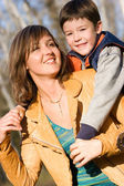 Mother and son outdoor set — Stock Photo