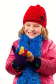 Pretty little girl dressed winter clothes isolated on white back — Foto Stock