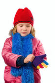 Pretty little girl dressed winter clothes isolated on white back — 图库照片