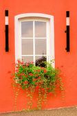 Beautiful window on red wall — Stock Photo