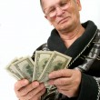 Happy old man holding dollars — Stockfoto #10175120