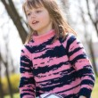Pretty little girl with soccer ball — Stock Photo