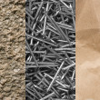 Foto Stock: Stone, paper and steel nails