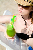 Hot lady with cold drink — Stock Photo