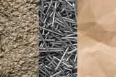 Stone, paper and steel nails — Stock Photo
