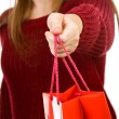 Smiling young girl holding red shopping bag — Stock Photo