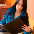 Attractive woman in cafe holding menu — Stock Photo #10185371