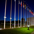International flags next to european council building in Strasbo — Stock Photo