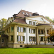 Foto de Stock  : Europehouse with green lawn
