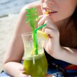 Hot lady with cold drink — Foto Stock