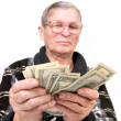 Happy old man holding dollars — Stock Photo