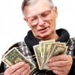 Happy old man holding dollars — Stock Photo #10185867
