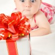 Reaching for gift box — Foto Stock #10185870