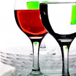 Glassware with multi-coloured liquids — Stock Photo