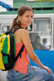 Hiking a trolley bus — Stock Photo