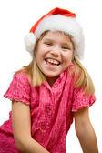 圣诞老人帽的快乐女孩 — 图库照片